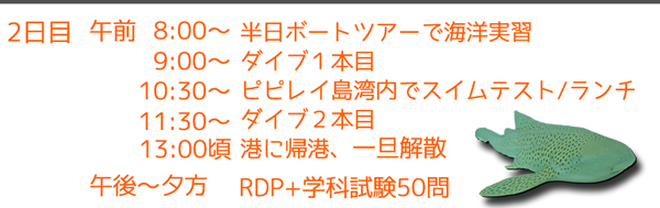 ピピ島オープンウォーターダイバーライセンス日程2